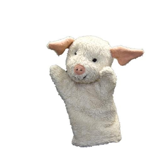 Plü natur Schwein Handspielpuppe