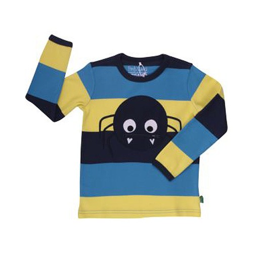 Freds World Langarm T-Shirt mit Blockstreifen + Spinnenapplikation, 100% Baumwolle, Kinder