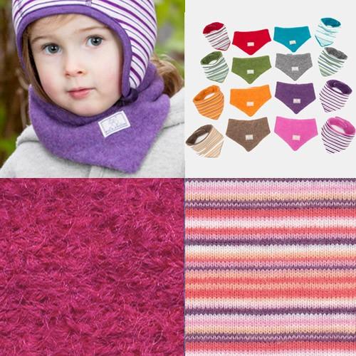 Pickapooh Dreiecktuch zum Wenden, Wollwalk, pink+himbeere-pink-weiß