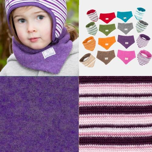 Pickapooh Dreiecktuch zum Wenden, Wollfleece, lila+pflaume-rosa-weiß