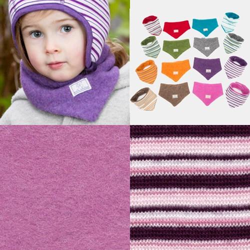 Pickapooh Dreiecktuch zum Wenden, Wollfleece, pink+pflaume-rosa-weiß