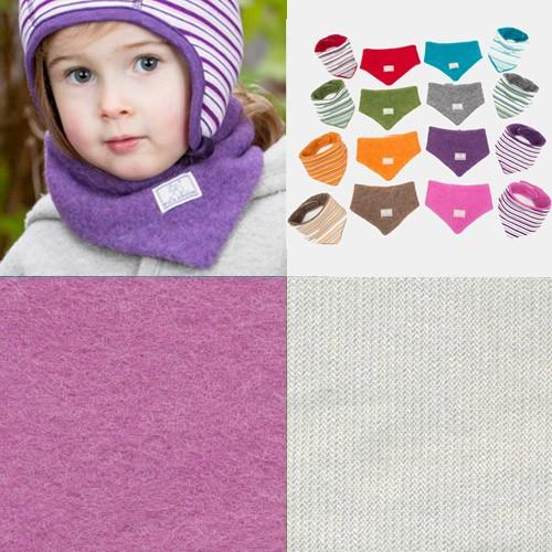 Pickapooh Dreiecktuch zum Wenden, Wollfleece, pink-grau