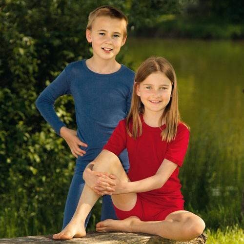Engel Kinder-Unterhemd, Wolle-Seide, kurzarm