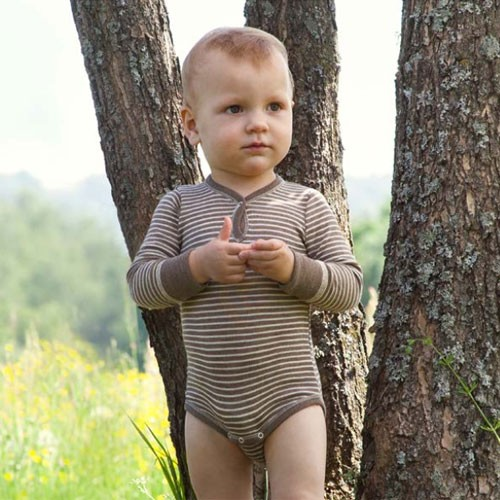 Engel Baby Langarm-Body walnuss/natur, Wolle-Seide
