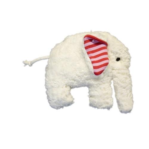 Plü Natur Spieluhr Elefant, weiß-rot
