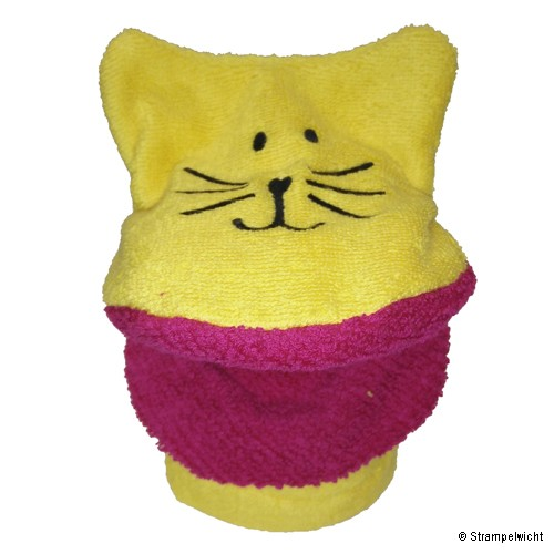 Piccalilly Waschlappen-Handpuppe, Gelb mit pinken Maul
