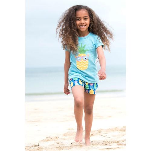 Frugi Praa Printed T-shirt, Aqua/Pineapple