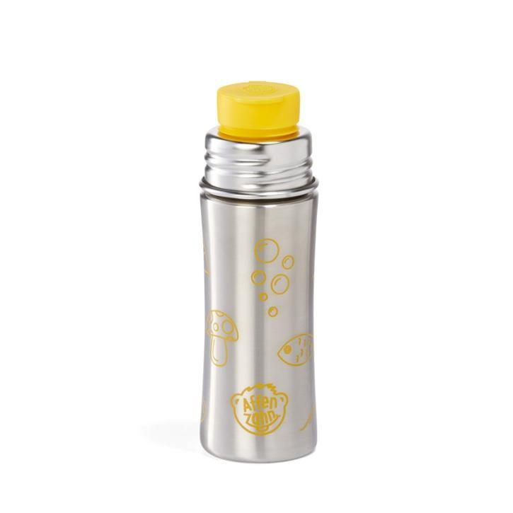 Affenzahn Edelstahl Trinkflasche Silber Gelb Tiger