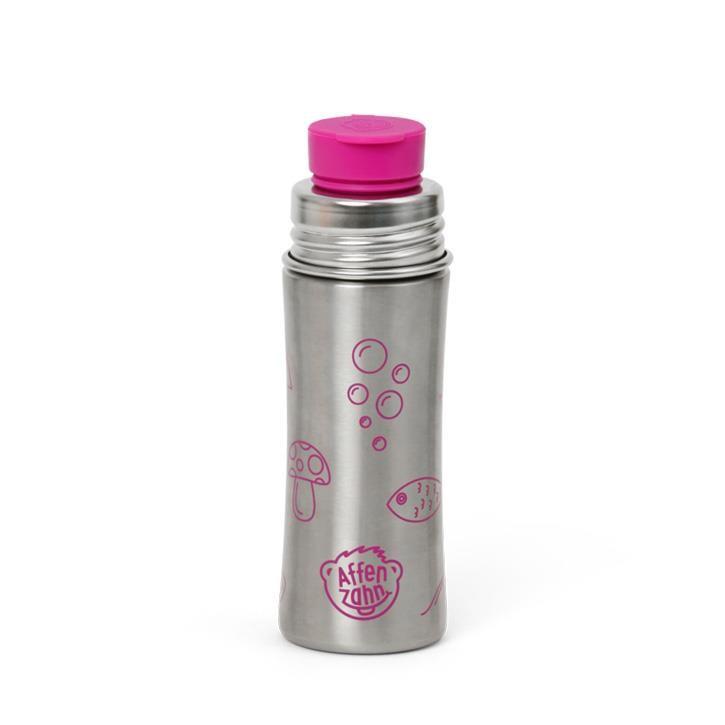 Affenzahn Edelstahl Trinkflasche Silber Pink Eule