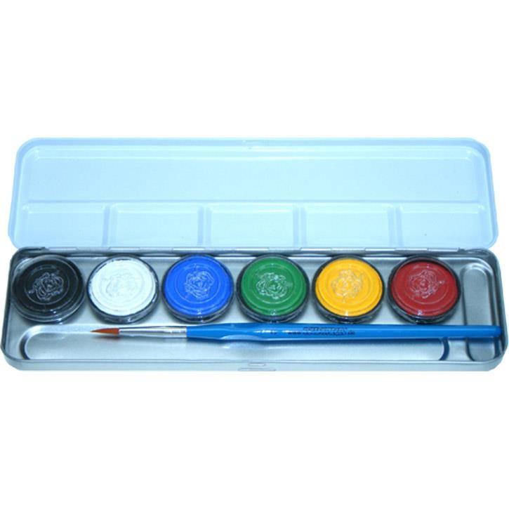 Aurich 51107 Schminke Metallpalette 6 Farben,1Pinsel 3 6 wasserlösliche Aquaschminken  3,5ml