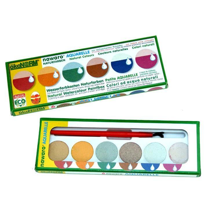Aurich 52016 Aquarell-Malkasten,klein 3 ökoNorm,6 Naturfarben,1 Pinsel Wasserfarb.pflanzl.Grundstoffe 17x6x1cm