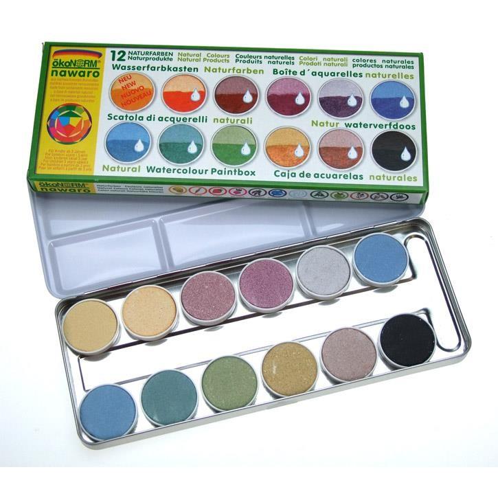 Aurich 52018 Aquarellmalkasten,groß 3 ökoNorm 12 Naturfarben,Metall für Veganer geeignet,oh.Pinsel 23x9x2cm