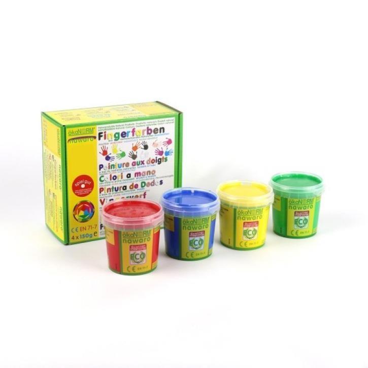 Aurich 52020 ökoNorm Fingerfarbe,4St.sort. 3 rot,gelb,grün,blau spiel gut  4x150g