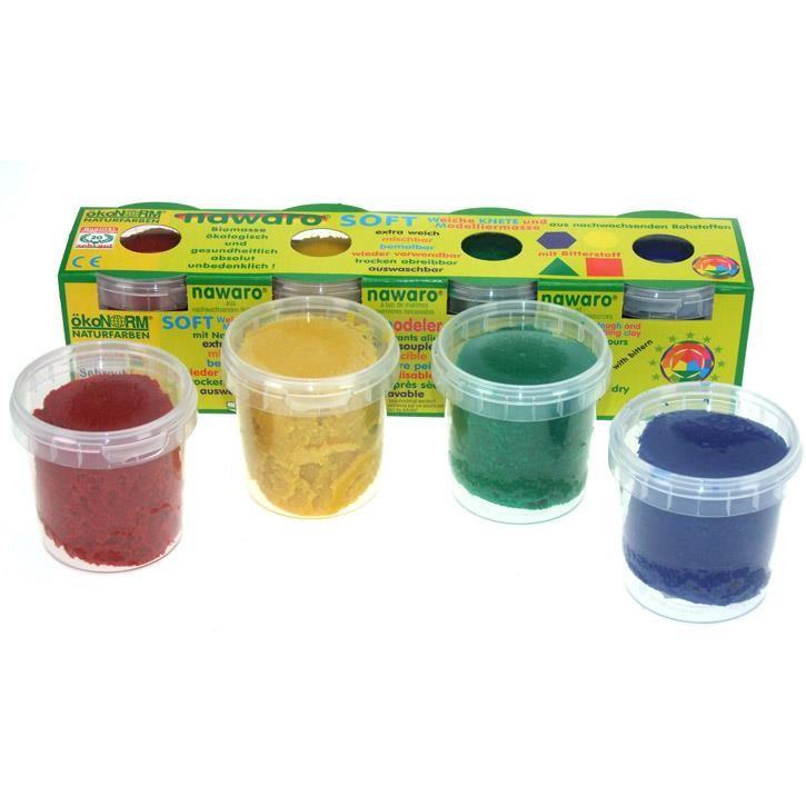 Aurich 52040 ökoNorm Soft-Knete,4 St.sort. 3 rot,gelb,grün,blau  4x150g