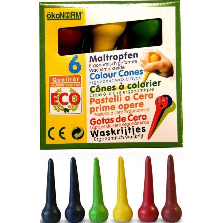 Aurich 52071 ökoNorm 6 Maltropfen,Schtl 3 6 Farben in Tropfenform  8x8cm
