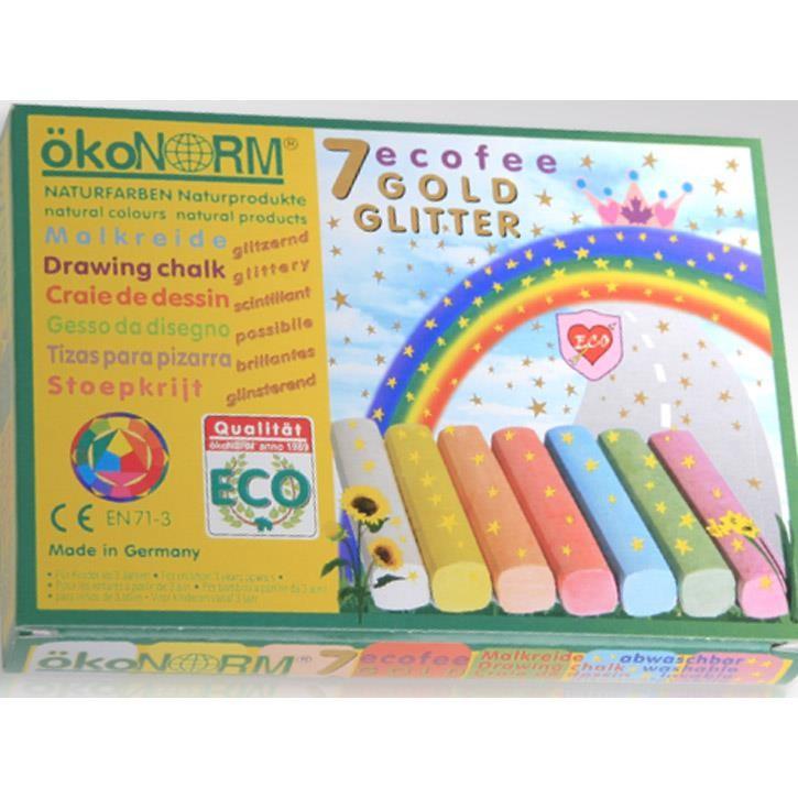 Aurich 52130 ökoNorm Malkreide,eco-Fee 3 7xGoldglitter farbig,eckig staubfr.,ungiftig,Made i.Germ. Nawaro