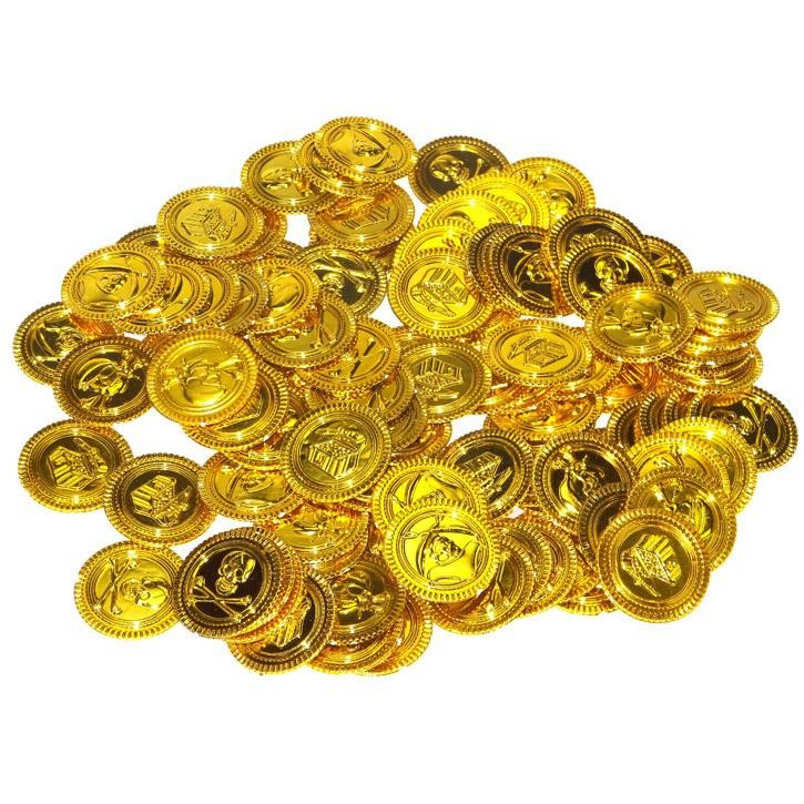 Aurich 79100 100 Piraten-Goldmünzen im Btl. 3 3 Münzen sortiert  35mm