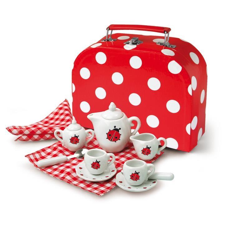 Aurich 85460 Porzellan Tee-Set Marienkäfer 3 12tlg.,Koffer aus Karton  20x15x7cm