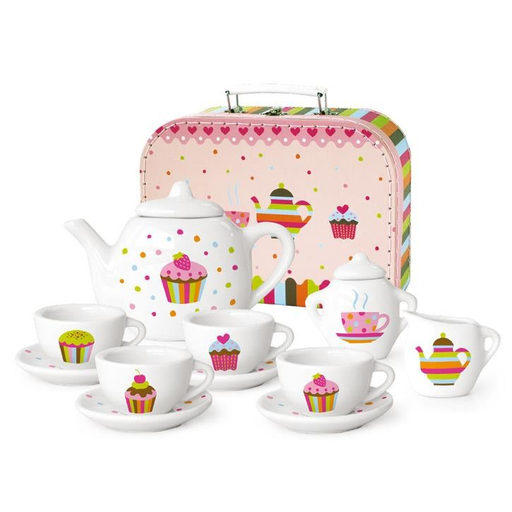 Aurich 85462 Porzellan Tee-Set Cup Cake 3 12tlg.,Koffer aus Karton  25x19x8cm