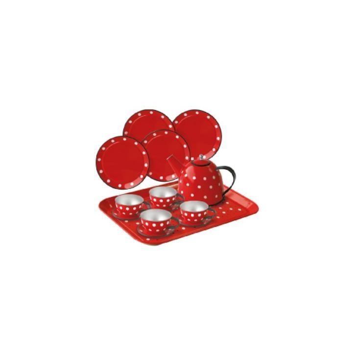Aurich 85466 Metall Tee-Set Polkadots,15tl 3 Koffer aus Karton  29x20x9cm