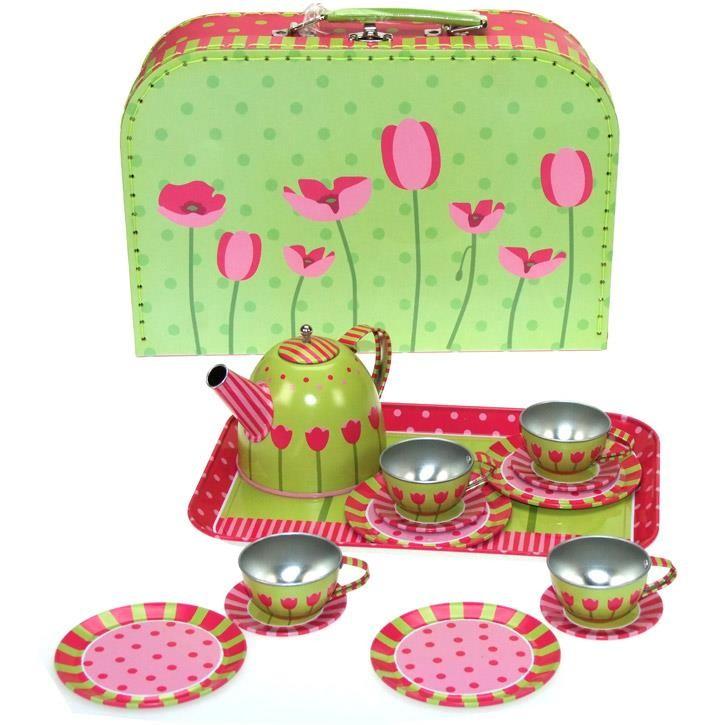 Aurich 85468 Metall Tee-Set Tulpen,15tlg. 3 Koffer aus Karton  29x20x10cm