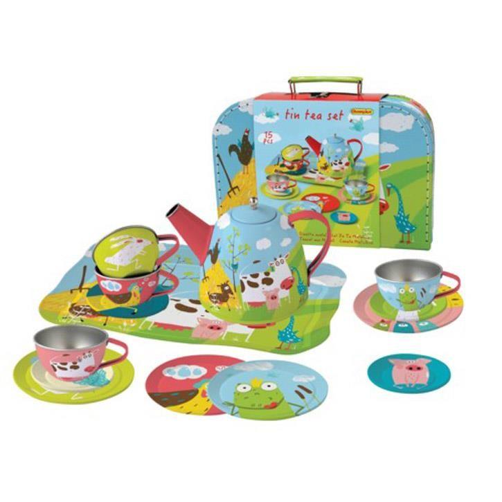 Aurich 85470 Metall Tee-Set Farm,15tlg. 3 Koffer aus Karton  29x20x9cm