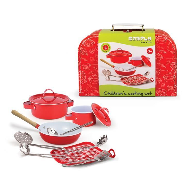 Aurich 85476 Kinder Kochgeschirr Set,11tlg. 3 2 Töpfe,1 Pfanne,5 Küchenhelf. 1 Topflappen,Koffer aus Karton 29x20x9cm