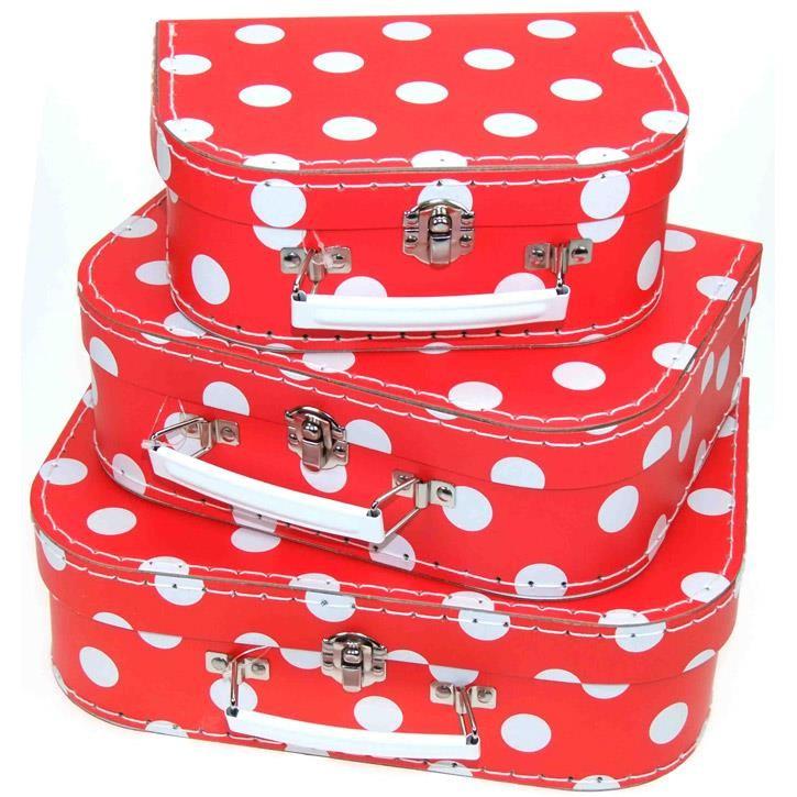 Aurich 85480 Kinder-Koffer 3er Set 3 rot mit weißen Punkten  15/20/25cm