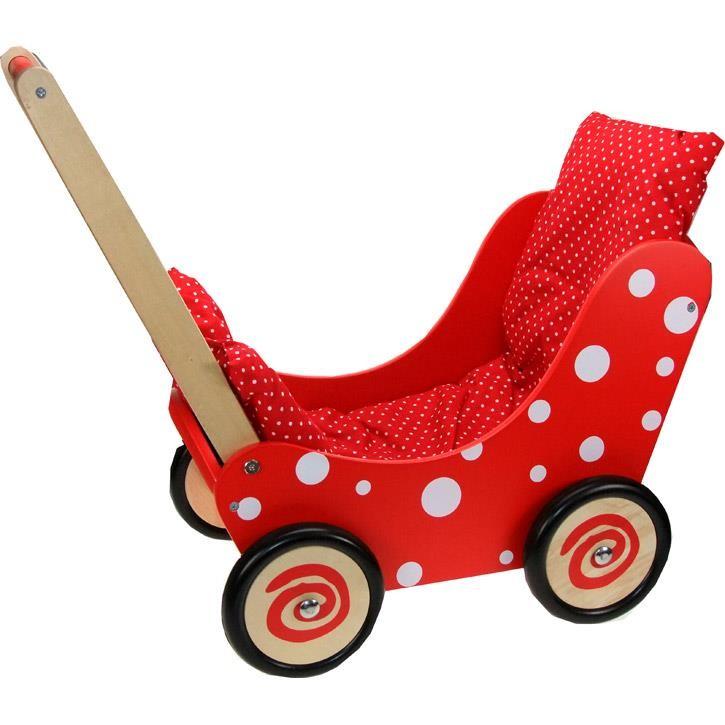 Aurich 85560 Puppenwagen rot 3 mit weißen Punkten  60x32x56cm