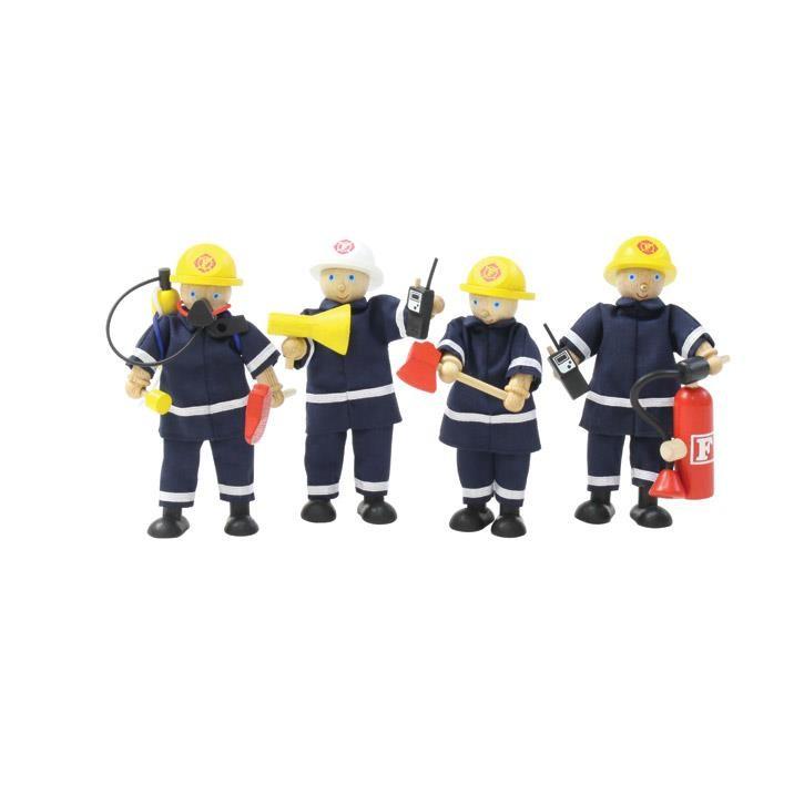 Aurich 88702 4 Feuerwehrmänner mit Zubehör, 3 11tlg. San 15036  Höhe:12cm