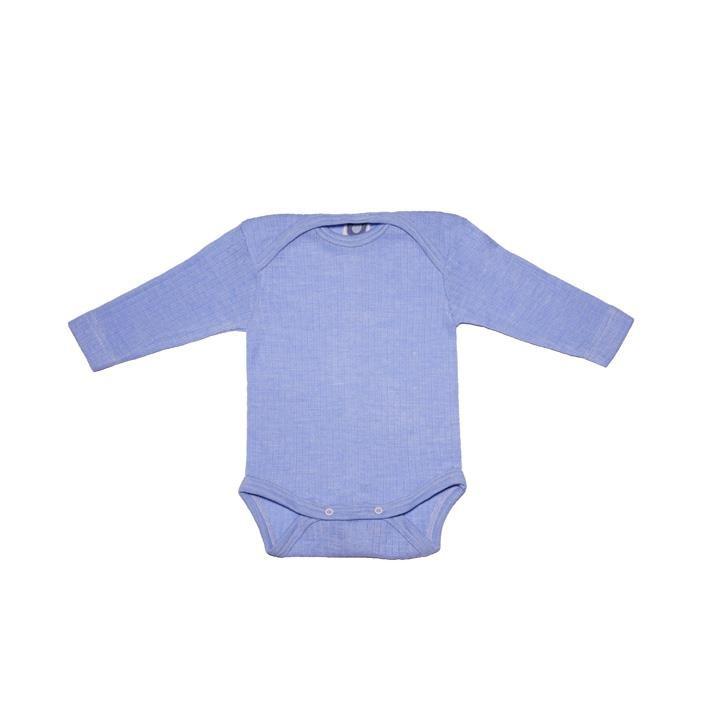 Cosilana Baby-Body 1/1 Arm blau 45% Baumwolle/35% Wolle/20%Seide
