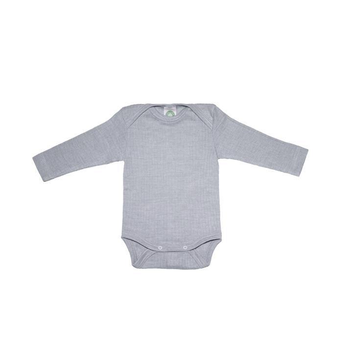 Cosilana Baby-Body 1/1 Arm grau meliert  45% Baumwolle/35% Wolle/20%Seide