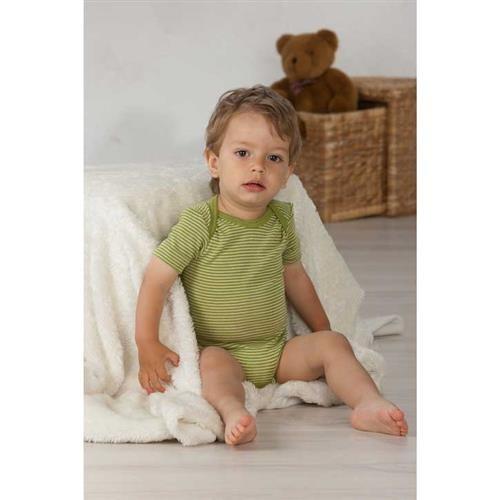 Cosilana Baby-Body 1/4 Arm Grün-Ringel Wolle/Seide