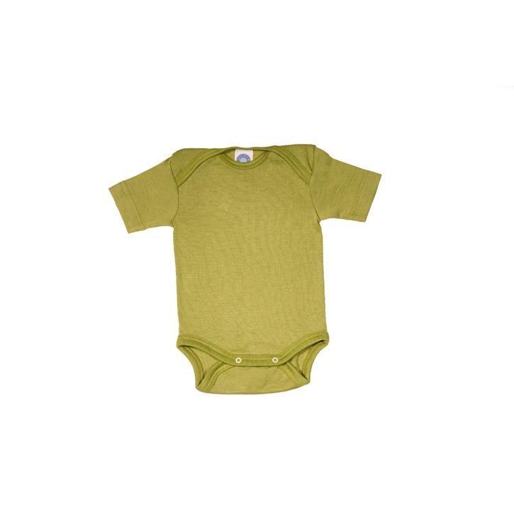 Cosilana Baby-Body 1/4 Arm grün uni 70% Merinoschurwolle / 30% Seide