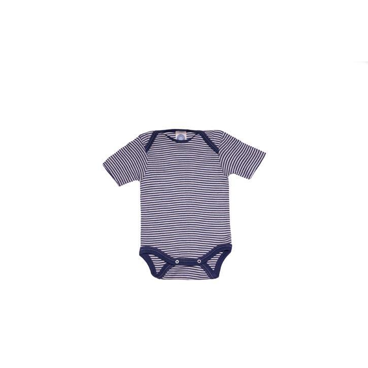 Cosilana Baby-Body 1/4 Arm marine geringelt 70% Merinoschurwolle / 30% Seide