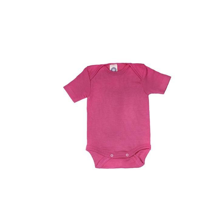 Cosilana Baby-Body 1/4 Arm pink uni 70% Merinoschurwolle / 30% Seide