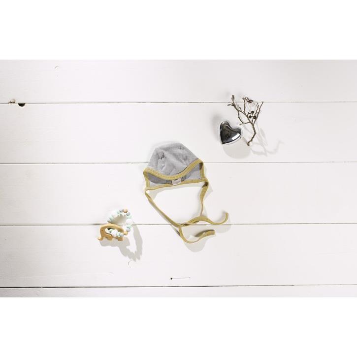 Cosilana Baby-Häubchen 062/068 hellgrau senf 70% Merinoschurwolle / 30% Seide