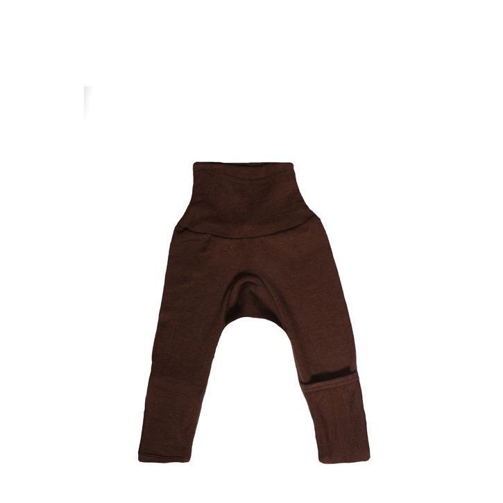 Cosilana Baby-Hose lg. mit Kratzschutz am Bein braun uni 70% Merinoschurwolle / 30% Seide