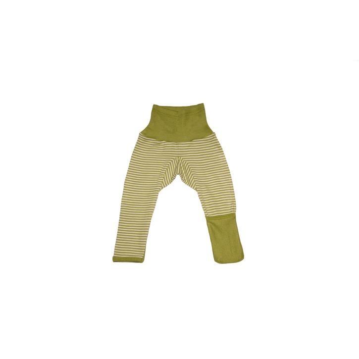 Cosilana Baby-Hose lg. mit Kratzschutz am Bein grün geringelt 70% Merinoschurwolle / 30% Seide