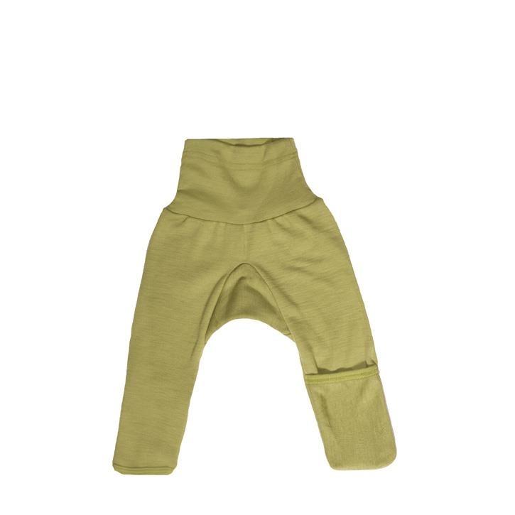 Cosilana Baby-Hose lg. mit Kratzschutz am Bein grün uni 70% Merinoschurwolle / 30% Seide