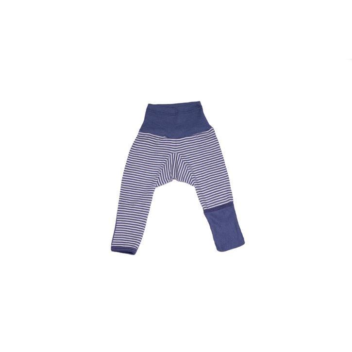 Cosilana Baby-Hose lg. mit Kratzschutz am Bein marine geringelt 70% Merinoschurwolle / 30% Seide