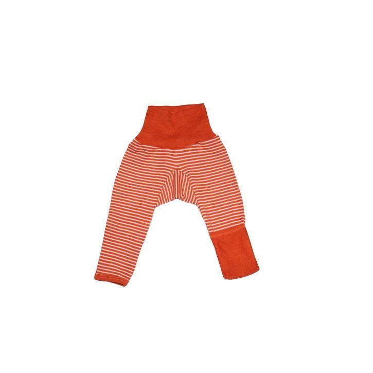 Cosilana Baby-Hose lg. mit Kratzschutz am Bein orange geringelt 70% Merinoschurwolle / 30% Seide