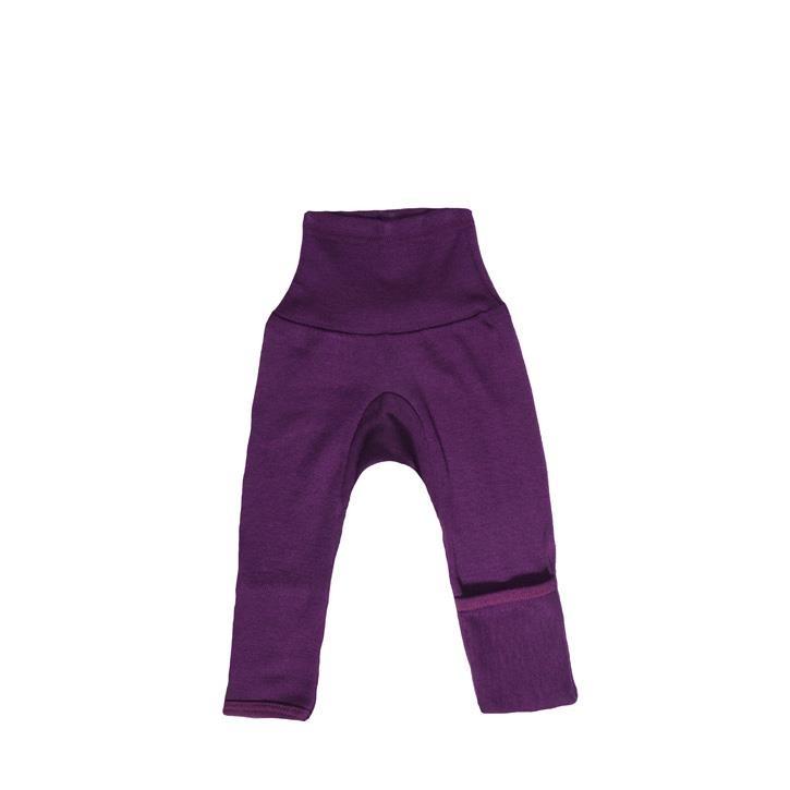 Cosilana Baby-Hose lg. mit Kratzschutz am Bein pflaume  70% Merinoschurwolle / 30% Seide