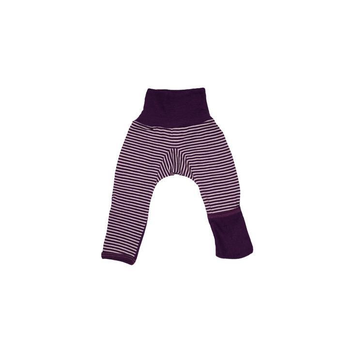 Cosilana Baby-Hose lg. mit Kratzschutz am Bein pflaume geringelt 70% Merinoschurwolle / 30% Seide