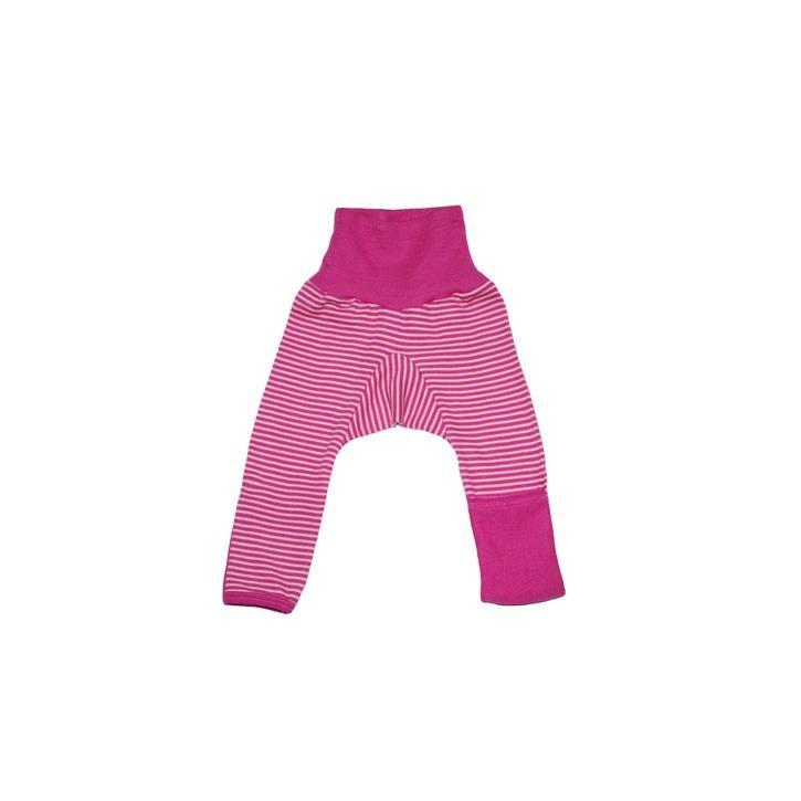 Cosilana Baby-Hose lg. mit Kratzschutz am Bein pink geringelt 70% Merinoschurwolle / 30% Seide