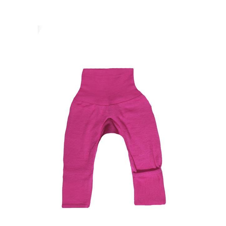 Cosilana Baby-Hose lg. mit Kratzschutz am Bein pink uni 70% Merinoschurwolle / 30% Seide