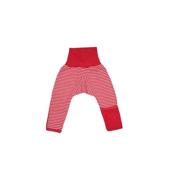 Cosilana Baby-Hose lg. mit Kratzschutz am Bein rot geringelt 70% Merinoschurwolle / 30% Seide