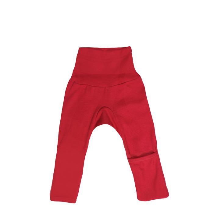 Cosilana Baby-Hose lg. mit Kratzschutz am Bein rot uni 70% Merinoschurwolle / 30% Seide
