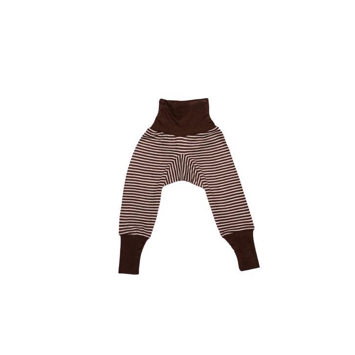 Cosilana Baby-Hose mit BUND braun geringelt 70% Merinoschurwolle / 30% Seide