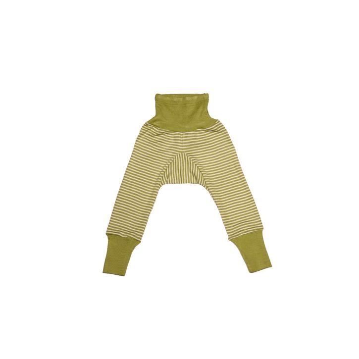 Cosilana Baby-Hose mit BUND grün geringelt 70% Merinoschurwolle / 30% Seide